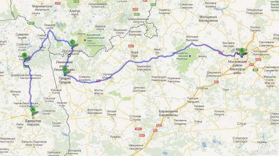 из Белостока в Минск - альтернативный маршрут