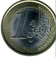 монета 1 евро - старая