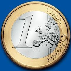 монета 1 евро - новая